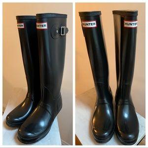 Glossy Black Tall Hunter Boots, Great Condition
